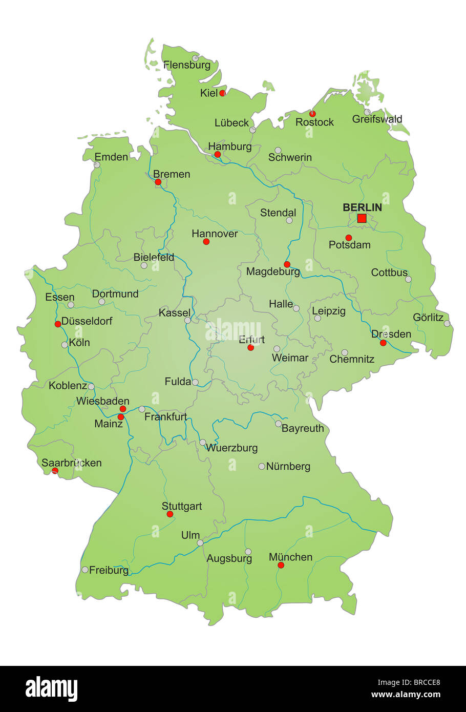 stylized map of germany showing states rivers and big cities city names in german language