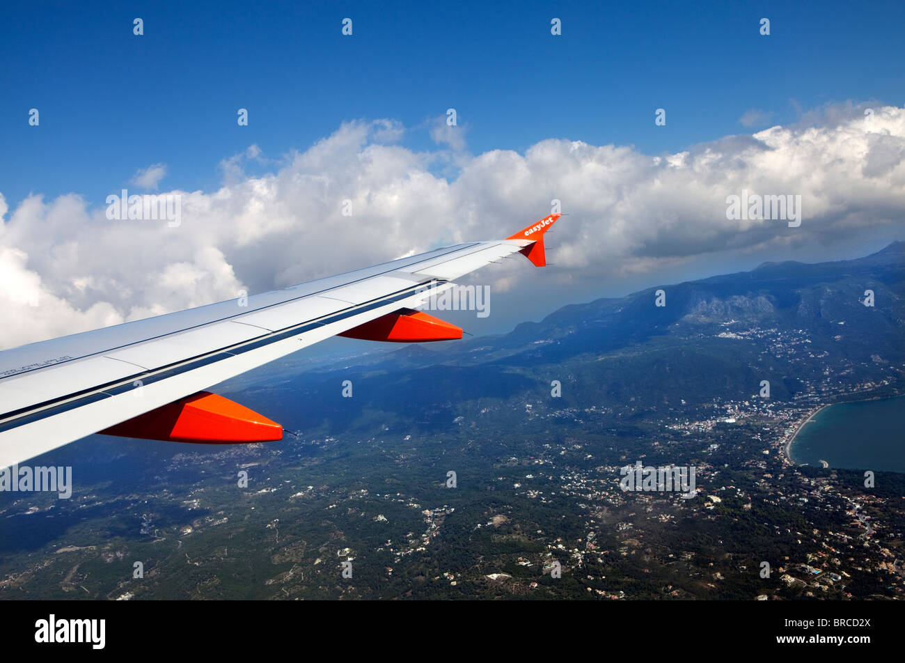 Wing of EasyJet aircarft during flight - Stock Image