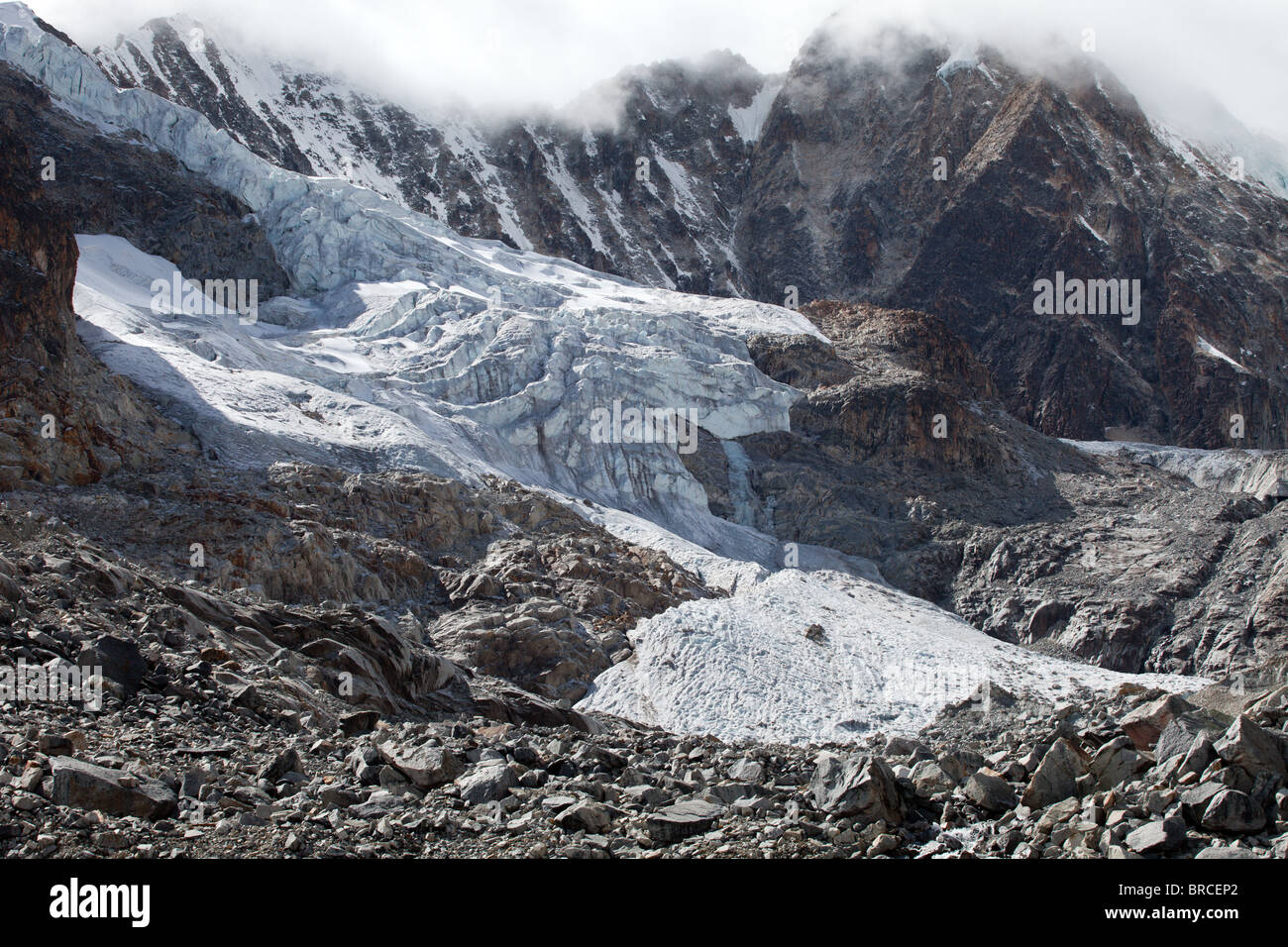 Cordillera Real: Laguna Glacial Trek: High Pass Glaciers Stock Photo