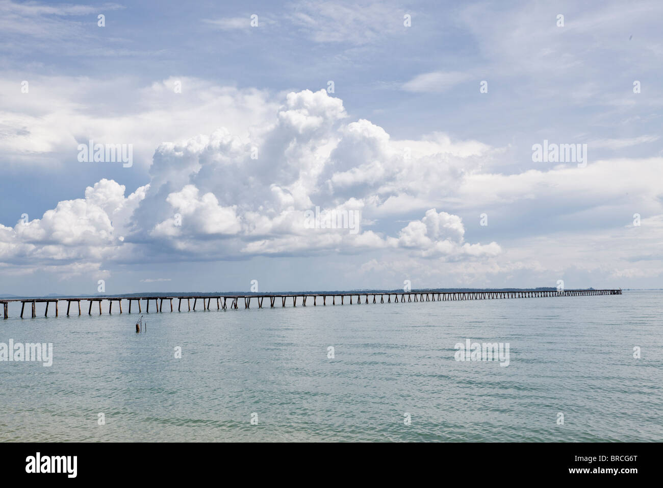 Wooden jetty on Libaran Island, Sabah, Borneo - Stock Image