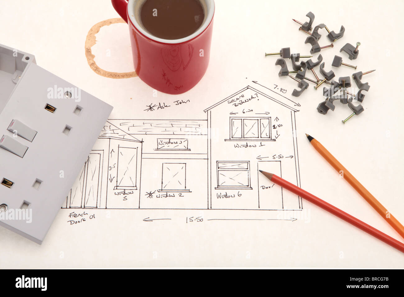 A electricians rough sketch blueprint uk electrical socket outlet a electricians rough sketch blueprint uk electrical socket outlet and a mug of coffee malvernweather Gallery