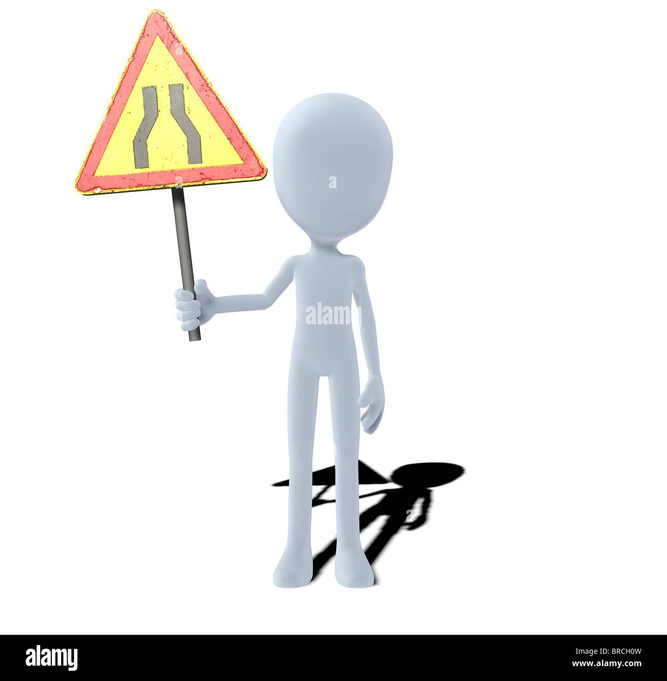 concept figure with warning sign bottleneck - Stock Image