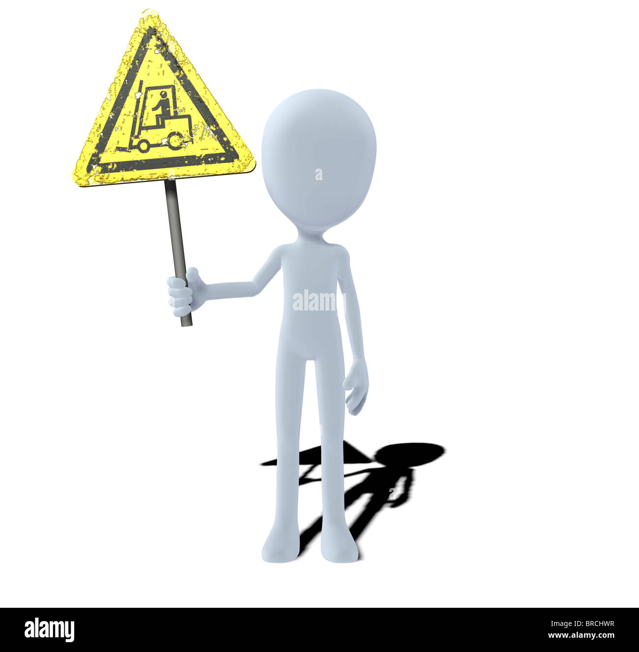 concept figure with warning sign fork lift trucks warning Stock Photo
