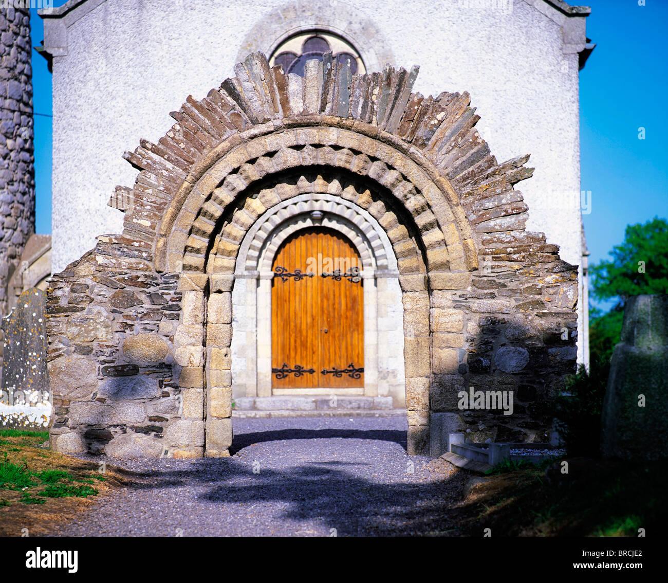 Castledermot, Co Kildare, Ireland, Reconstructed Romanesque Doorway - Stock Image