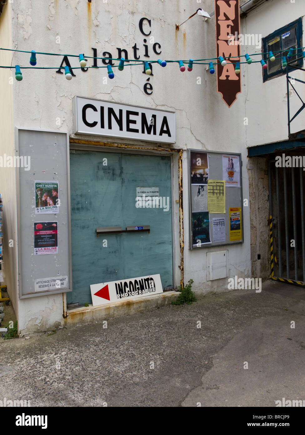 The Atlantic Cine cinema in the resort town of St Martin de Re on the Ile de Re near La Rochelle in France - Stock Image