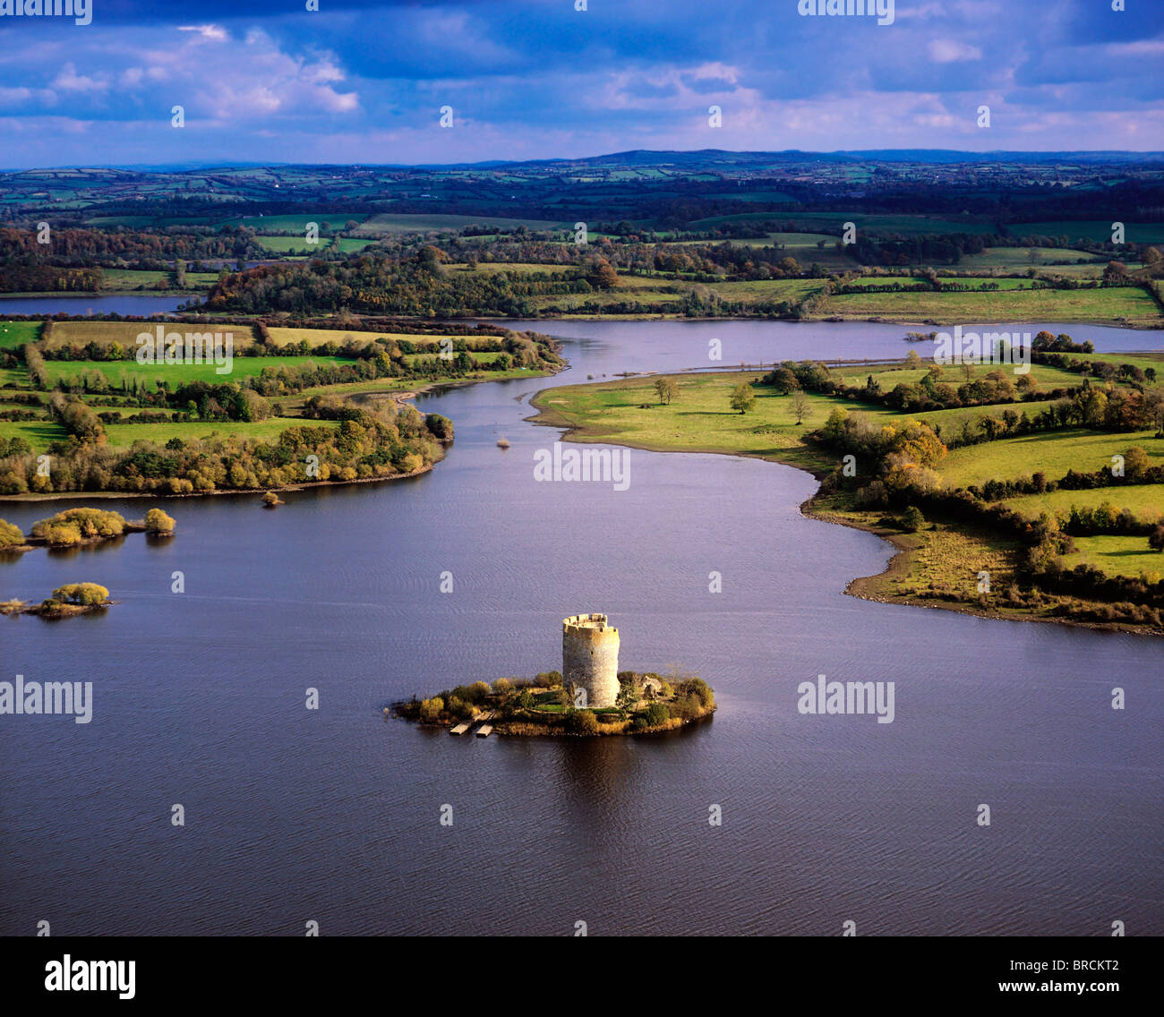 Co Cavan, Ireland; Aerial View Of Lough Oughter And 13Th Century Cloughoughter Castle Built On The Possible Site - Stock Image