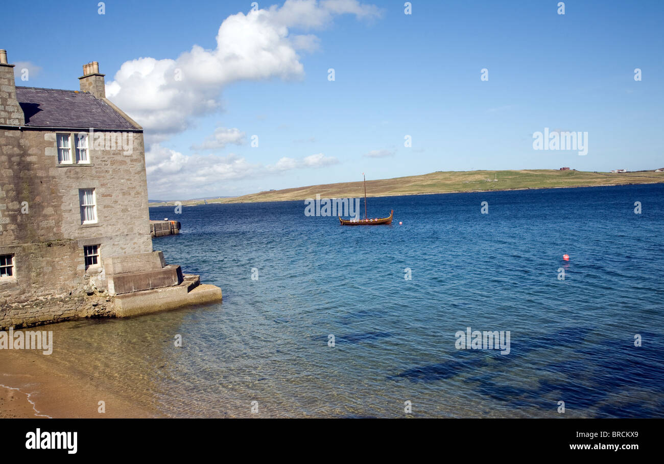 Beach and sea, Lerwick, Shetland Islands, Scotland - Stock Image