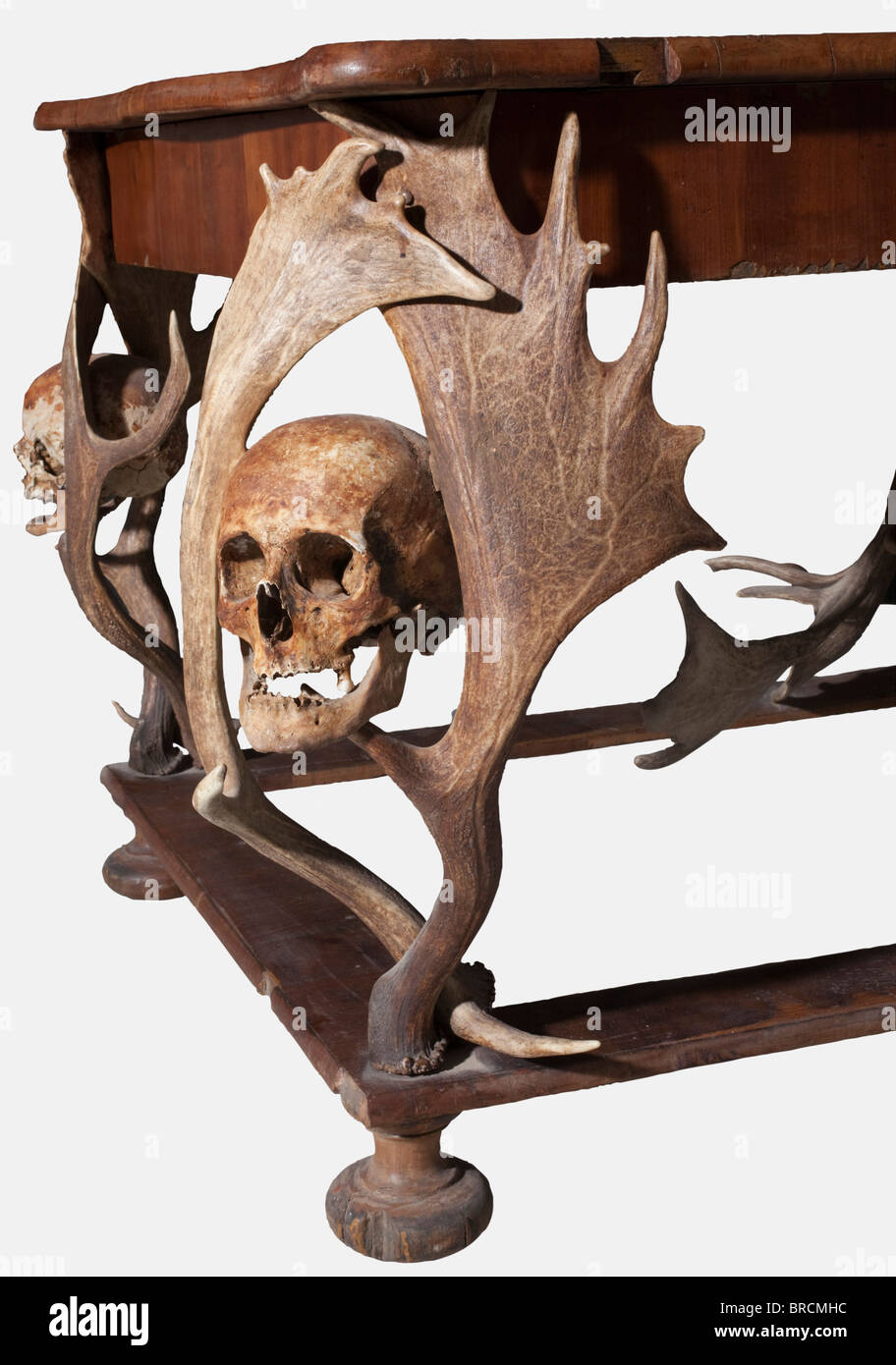 A Bohemian hunting-themed table, from the possessions of the Princes of Schwarzenberg, circa 1870 Walnut veneer - Stock Image