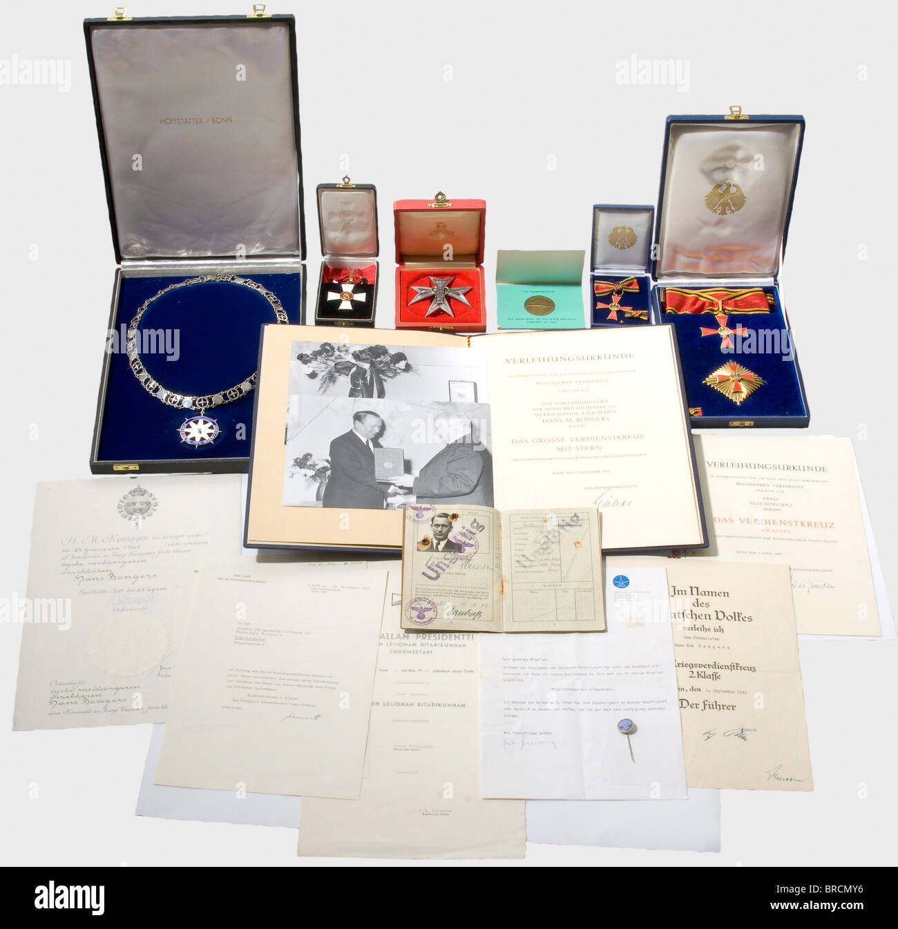 Hans M. Bongers, a pioneer of German civil aviation (1898 - 1981), awards and documents Passport, 1939 with numerous - Stock Image
