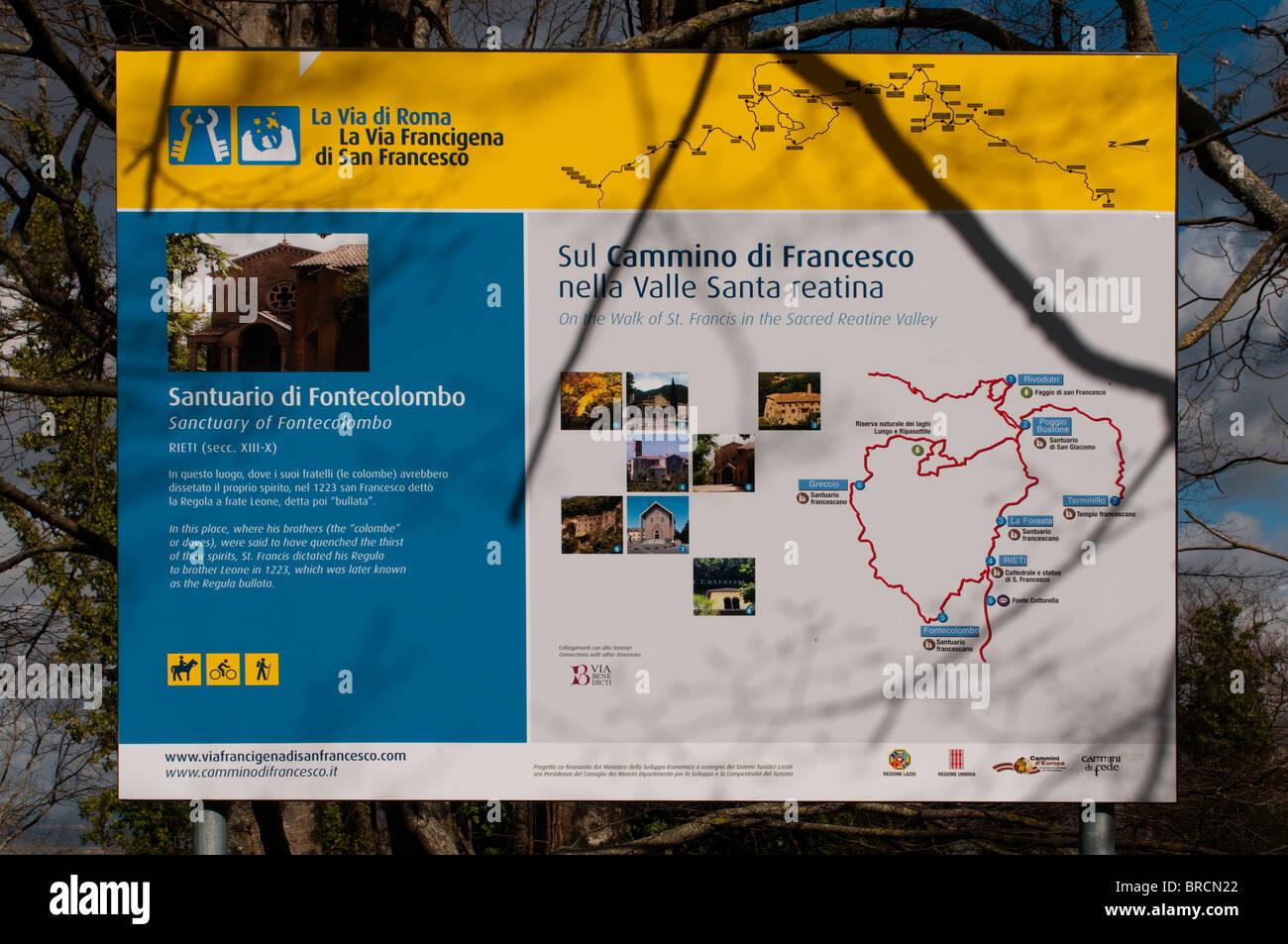 Rieti Italy Map.Map Of St Francis Walk Rieti Lazio Latium Italy Europe Stock