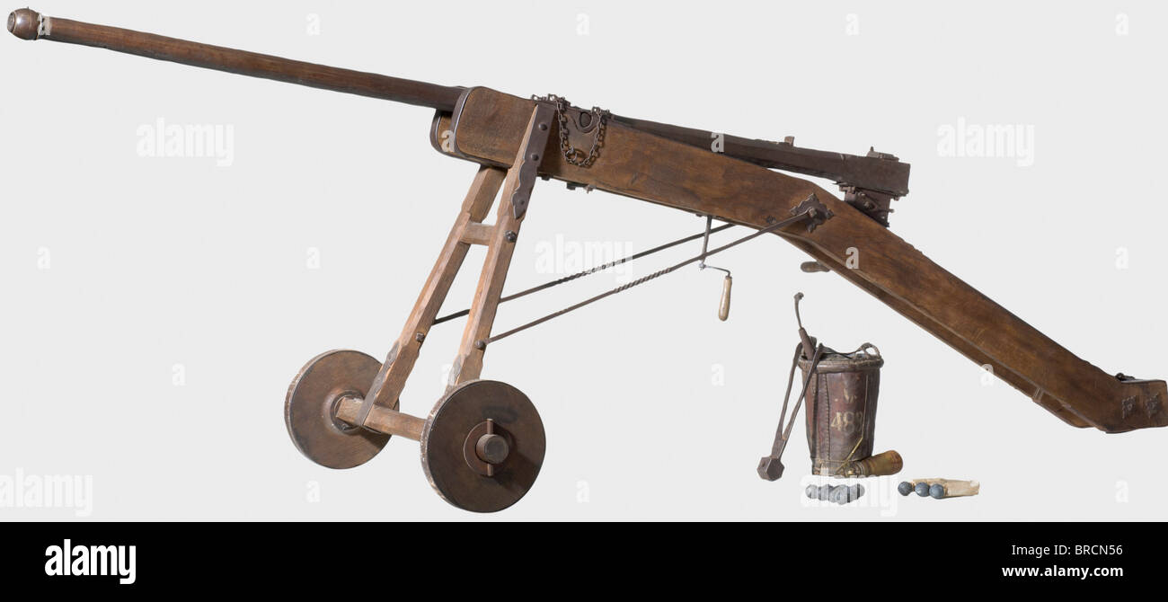 A German breech-loading falconet, dated 1619. Two-stage iron barrel, octagonal changing to round, in 35 mm calibre - Stock Image