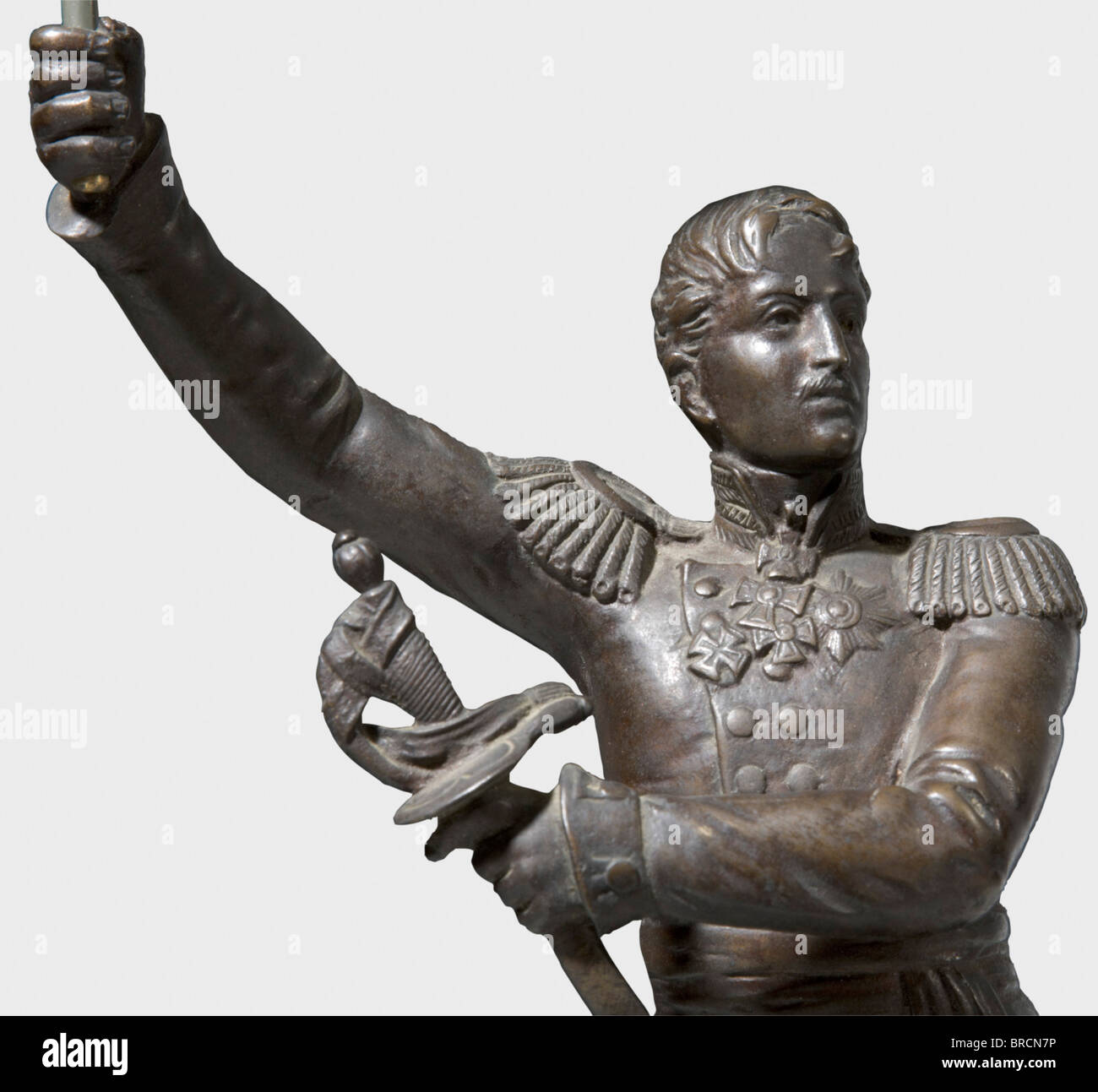 A bronze figure of Friedrich Wilhelm III of Prussia, a present from the First (Prussian) Artillery Regiment The - Stock Image
