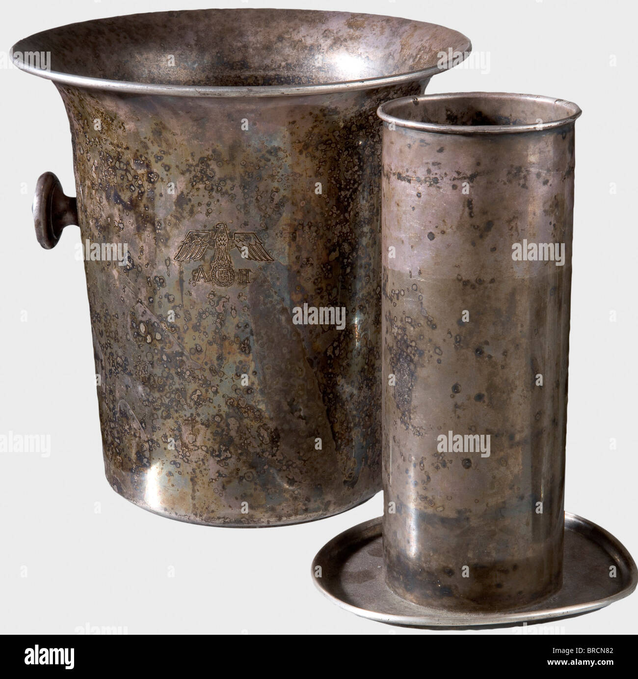 Adolf Hitler - a champagne cooler, from his personal silverware Hard silver-plated version. On the front an engraved - Stock Image