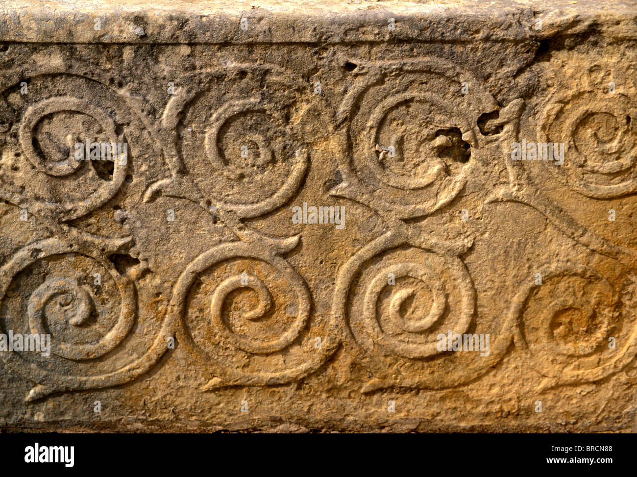 Spiral reliefs, Tarxien Temple complex, Neolithic, Malta - Stock Image