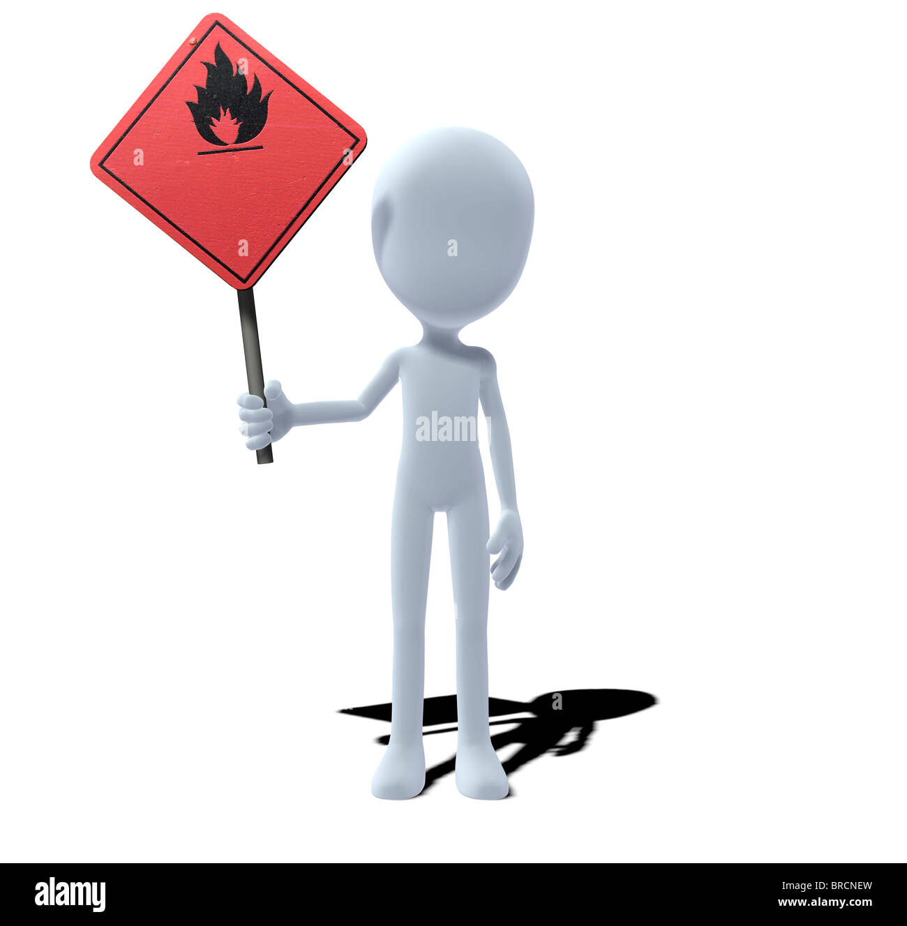concept figure with warning sign flammable material - Stock Image