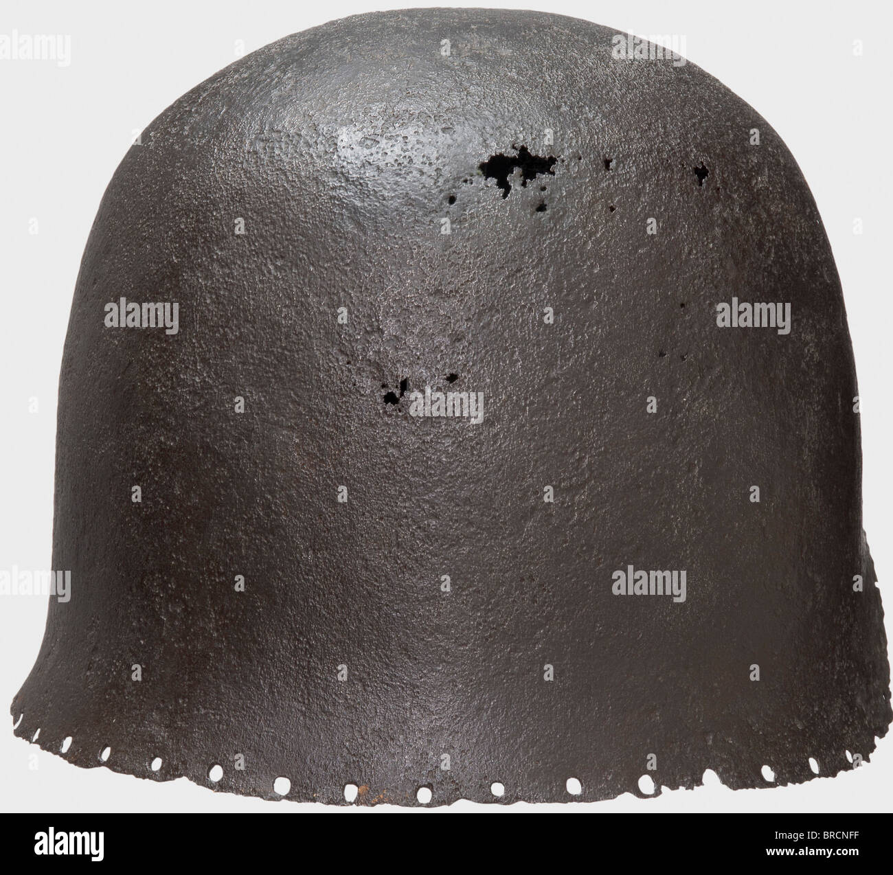 An Italian archer's sallet, Milan(?), middle of the 15th century One-piece hammered skull with a semicircular - Stock Image