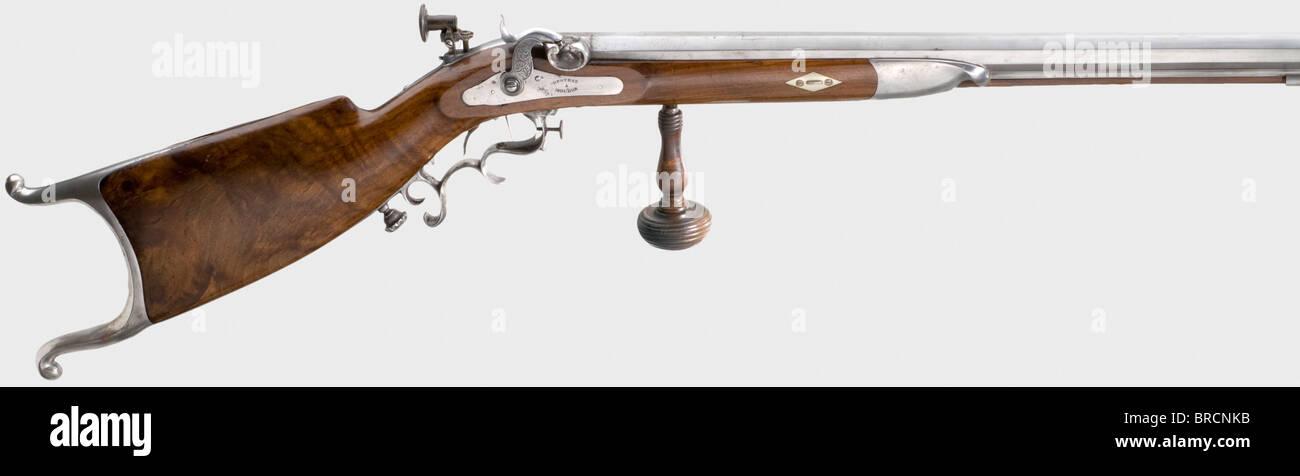 A percussion sporting rifle, Destraz, Moudon/CH, circa 1840. Heavy octagonal barrel with rifled bore in calibre - Stock Image