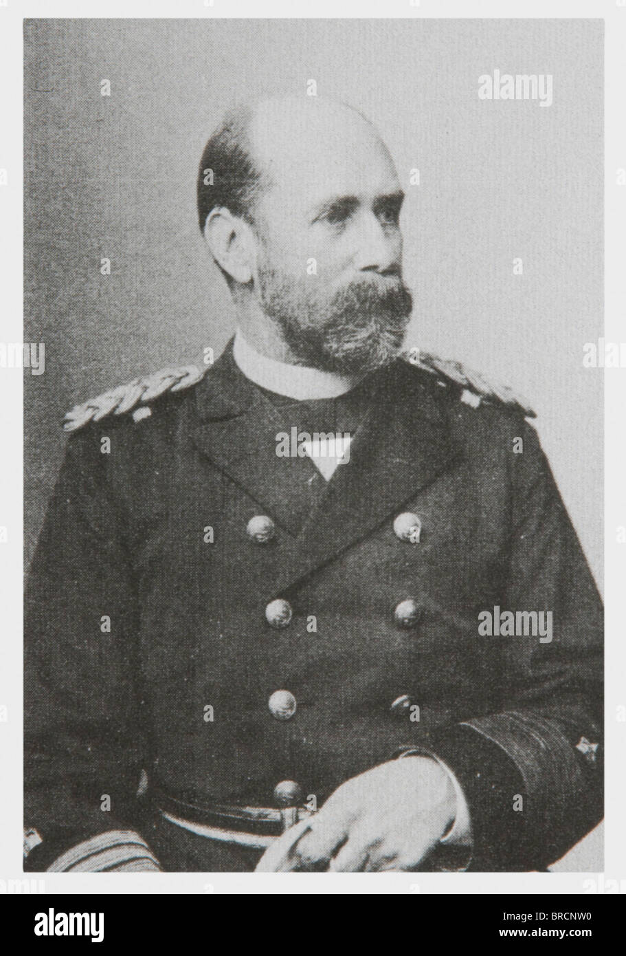 Admiral Otto von Diederichs (1843 - 1918), certificates and documents from his legacy Commission as a Sea Cadet - Stock Image