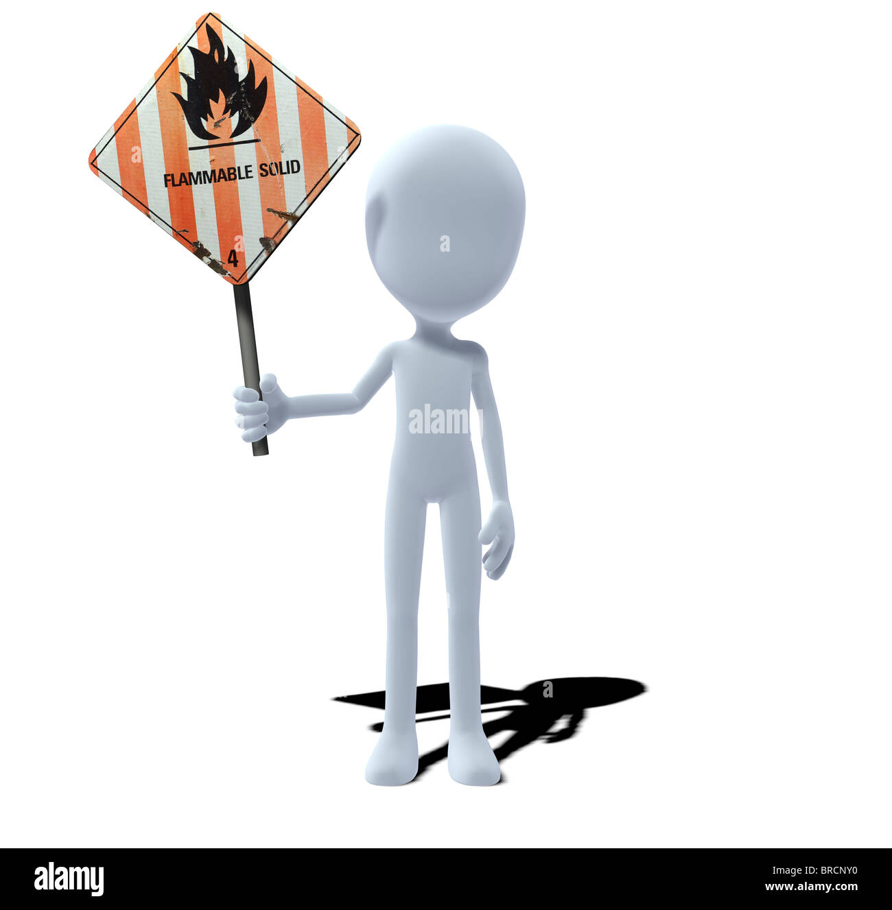 concept figure with warning sign flammable solids - Stock Image