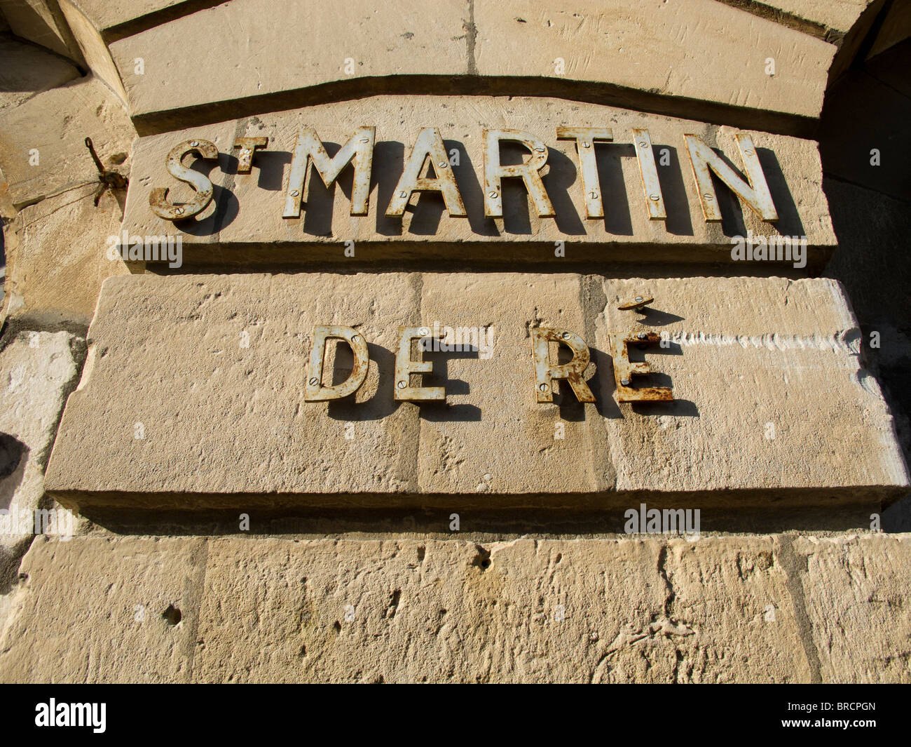 Sign for St Martin de Re on the Post Office in the town Square - Stock Image