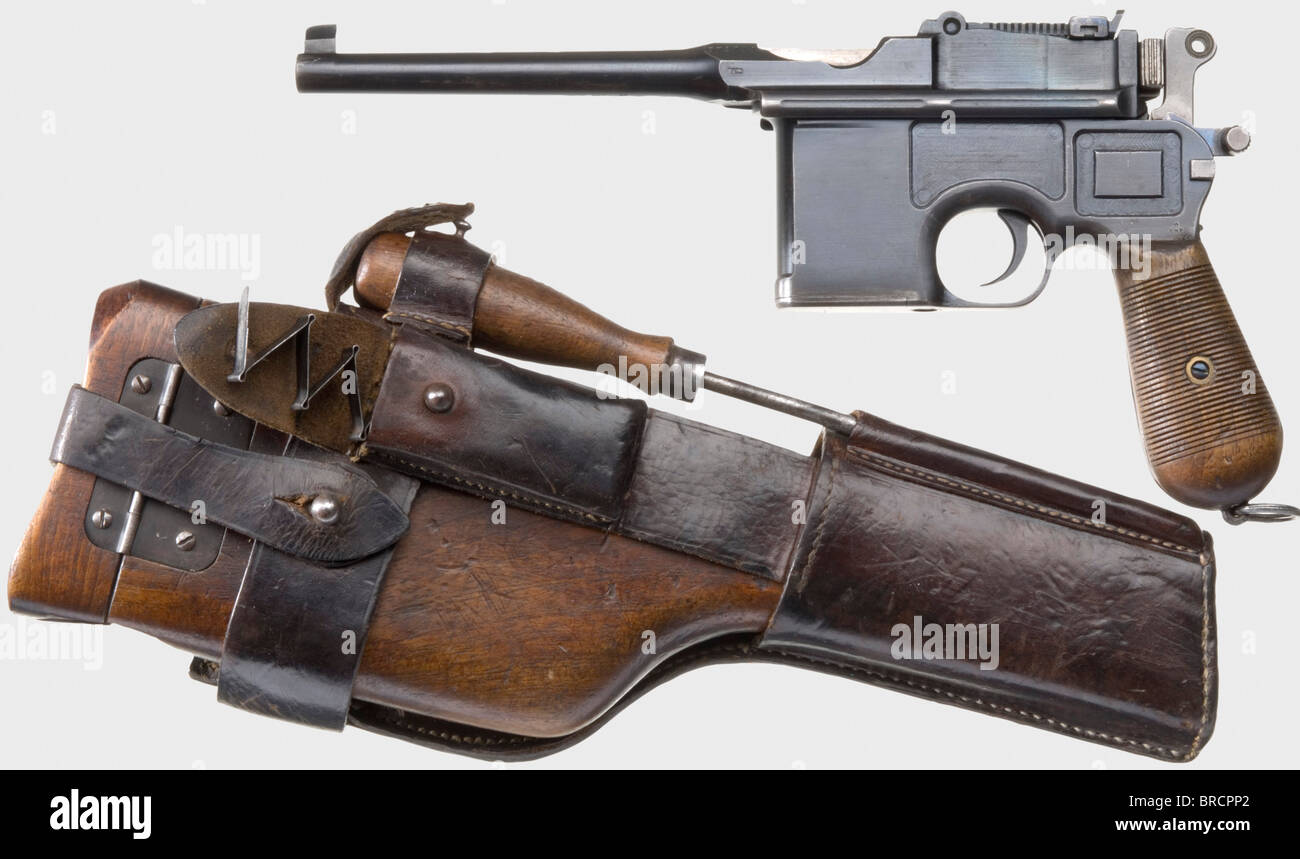 A Mauser C 96 'Wartime Commercial' with imperial military acceptance, calibre 7.63 mm, no. 372799. Matching - Stock Image