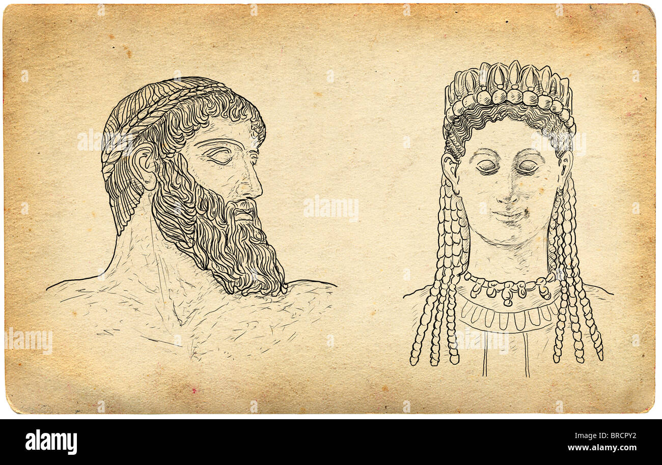 Greek Gods illustration - Stock Image