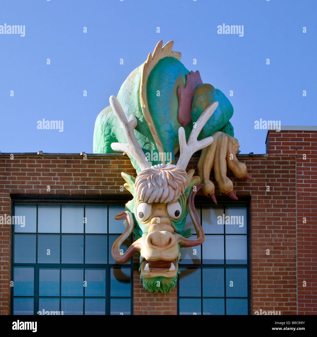 Dragon on the Childrens Museum in Providence Rhode Island - Stock Image