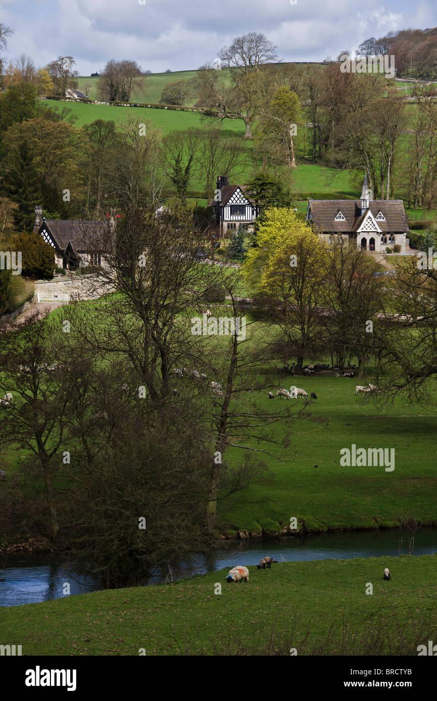 The hamlet of Ilam, Peak District National Park, Staffordshire, England - Stock Image