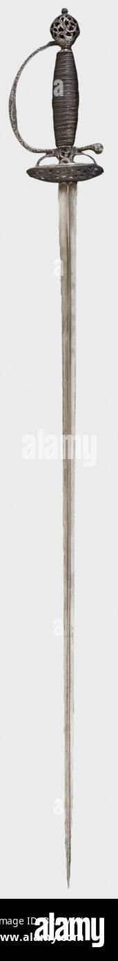 A French small-sword with chiselled hilt, circa 1780 Smooth triangular blade with an openwork iron hilt chiselled - Stock Image