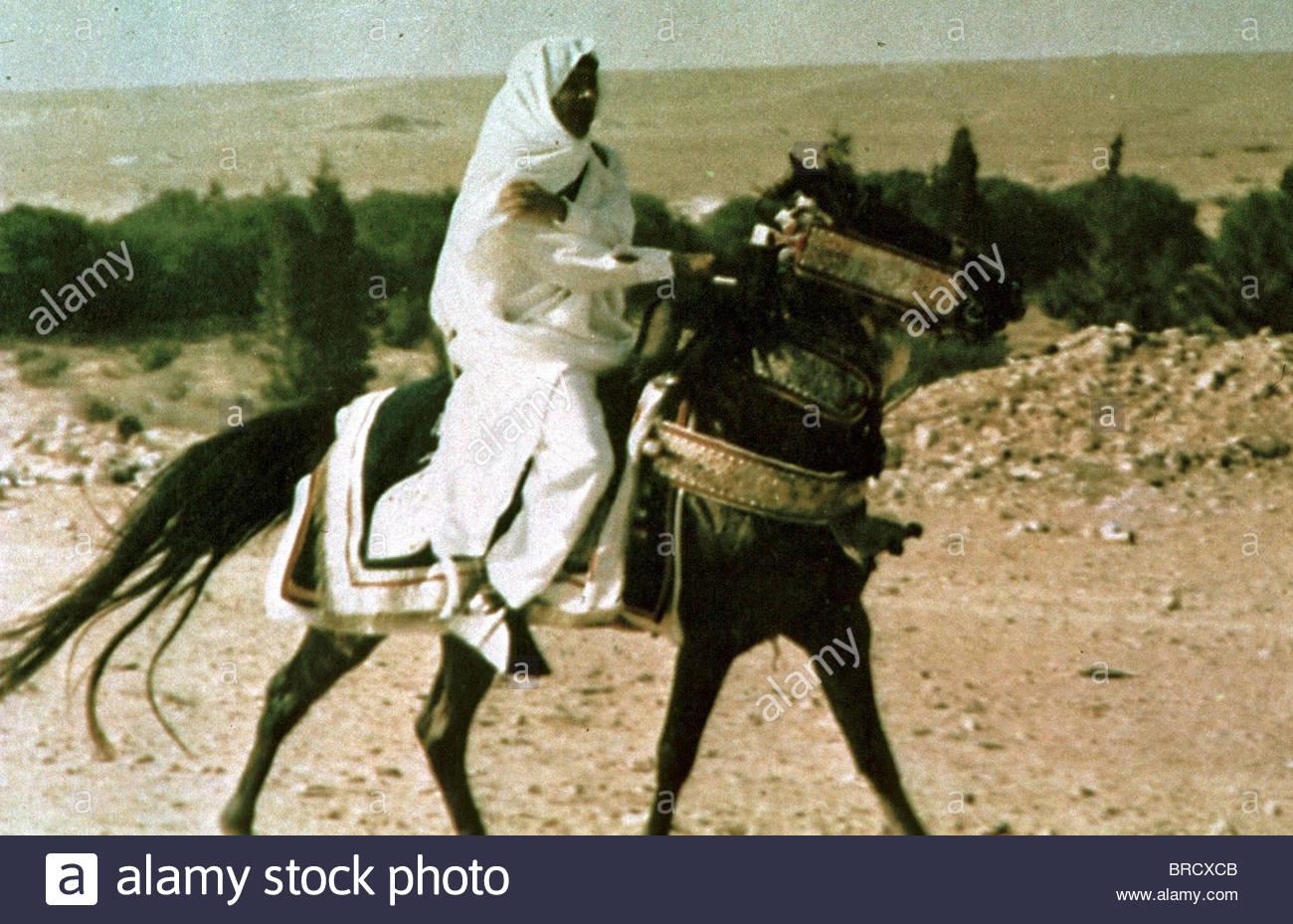 COLONEL MOAMMAR GADHAFI LIBYA ON HORSEBACK - Stock Image