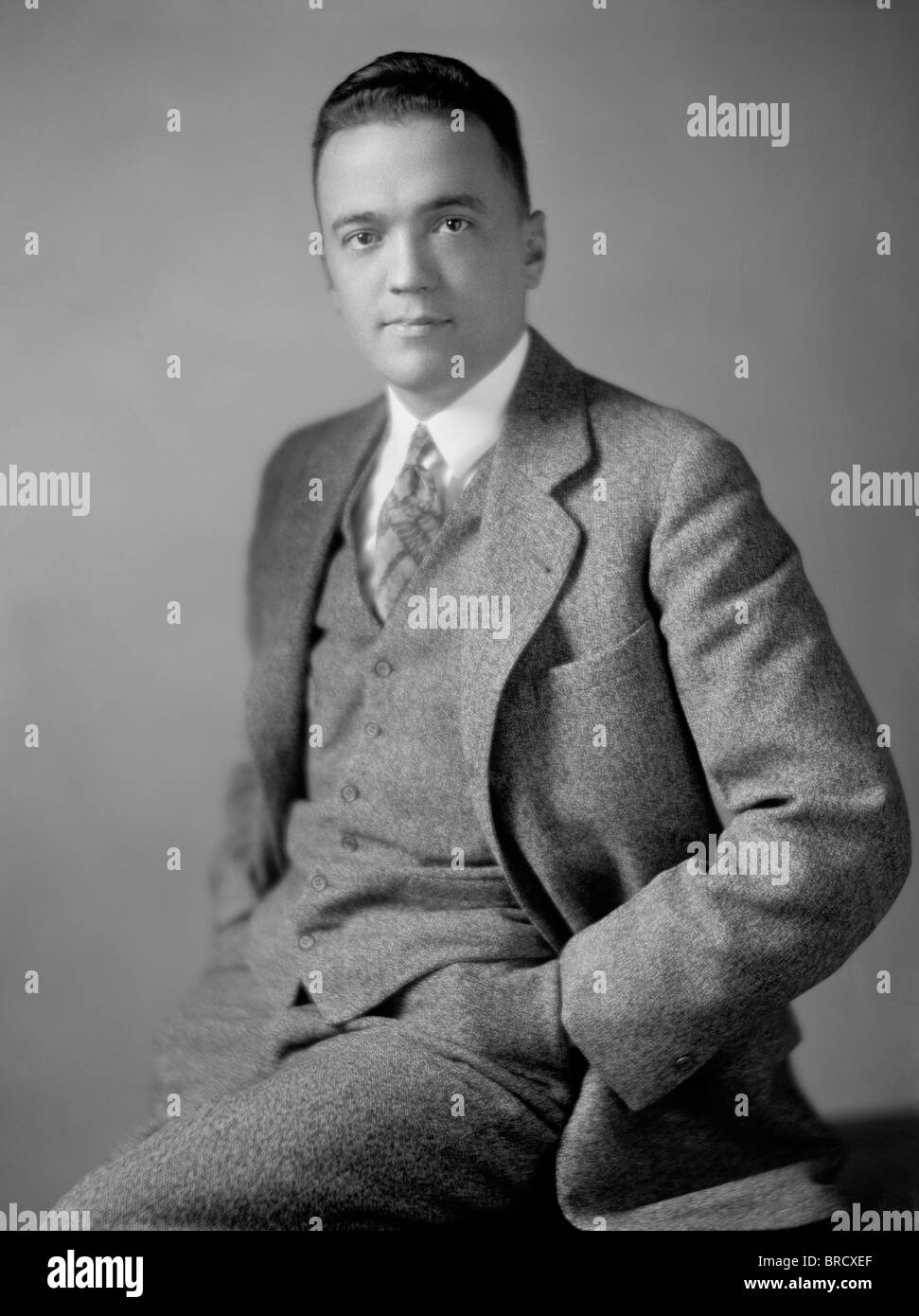 Portrait photo c1920s of J (John) Edgar Hoover (1895 - 1972) - first Director of the Federal Bureau of Investigation - Stock Image