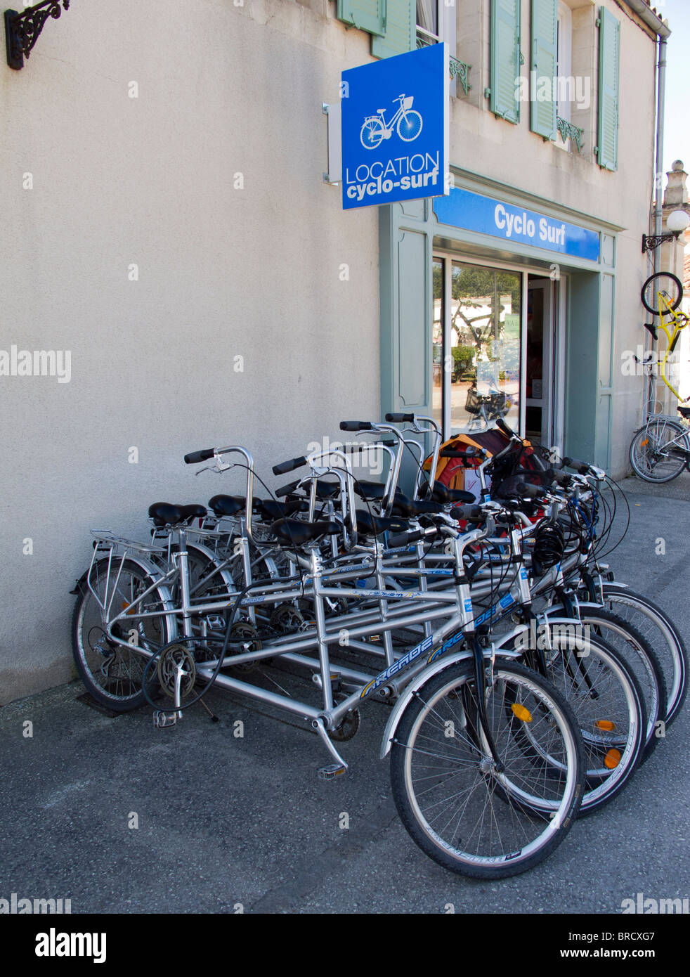 Tandem bicycles for hire in St Martin de Re on the Ile de Re, France - Stock Image