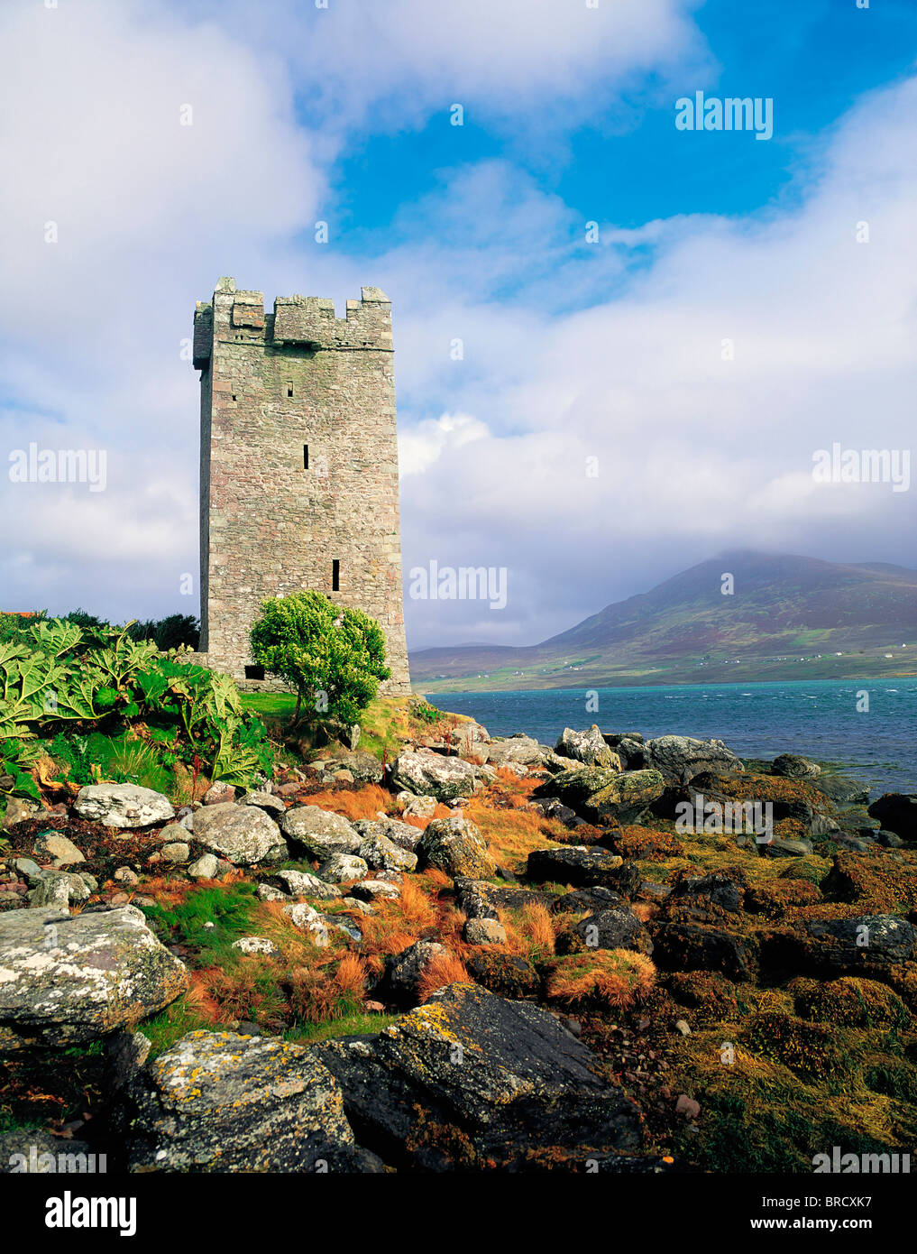 The Tower At Kildavnet, Achill Island, Co Mayo, Ireland, Associated With Grace O'malley - Stock Image