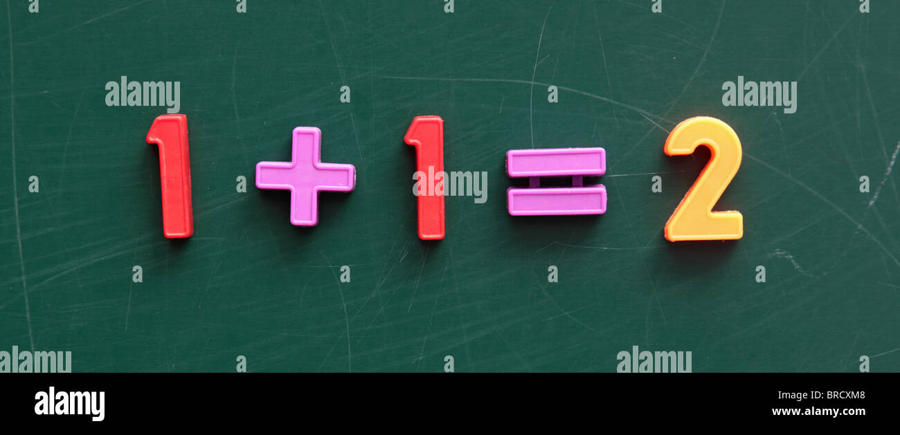 A simple maths problem on a blackboard Stock Photo: 31631832 - Alamy