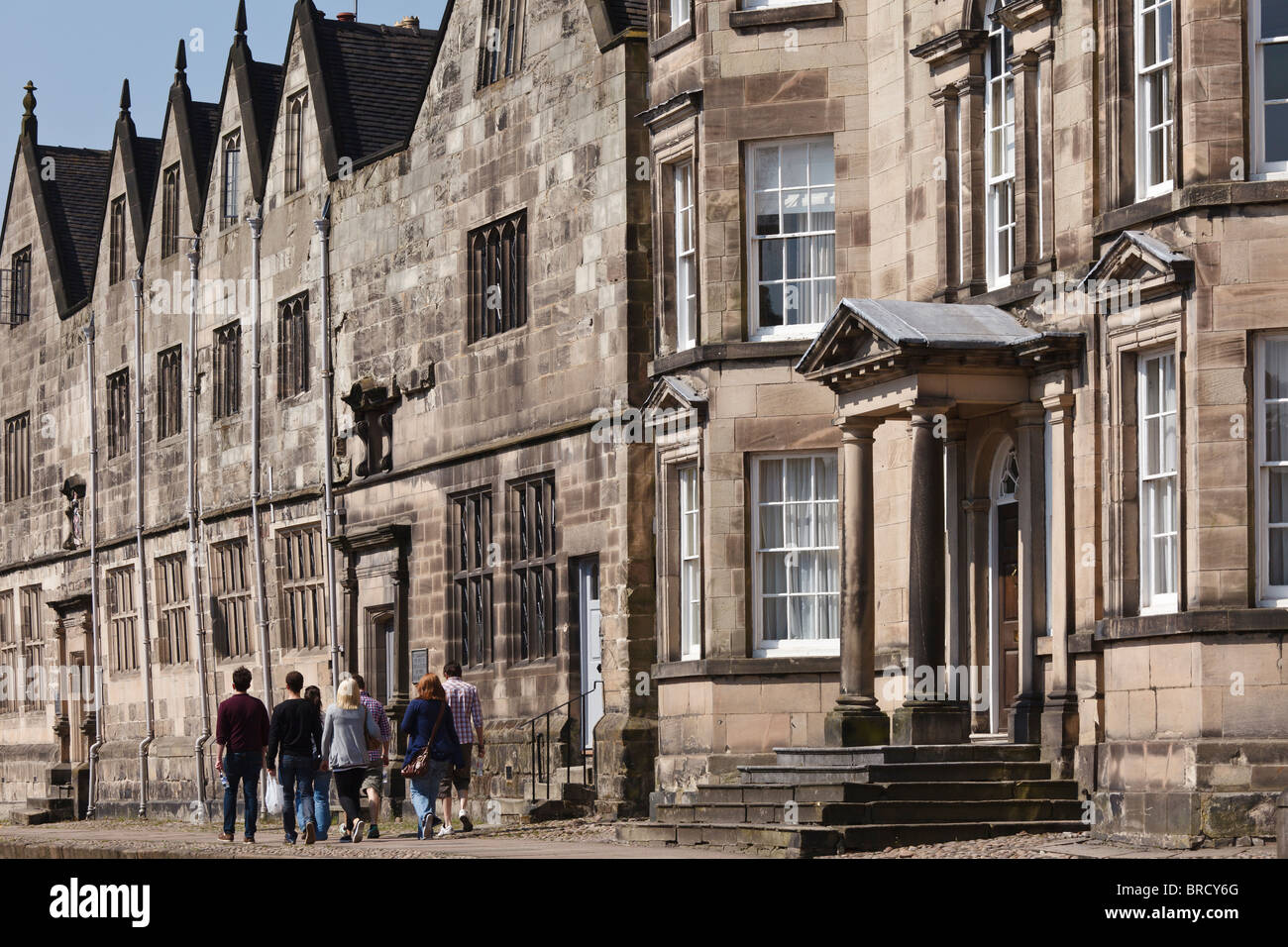 The old Queen Elizabeth's Grammar School building, Church Street, Ashbourne, Peak District, Derbyshire, England, - Stock Image