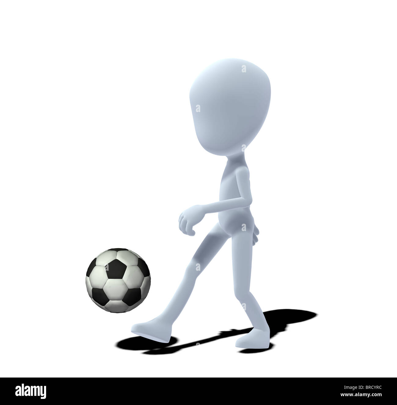 concept figure with soccer ball - Stock Image