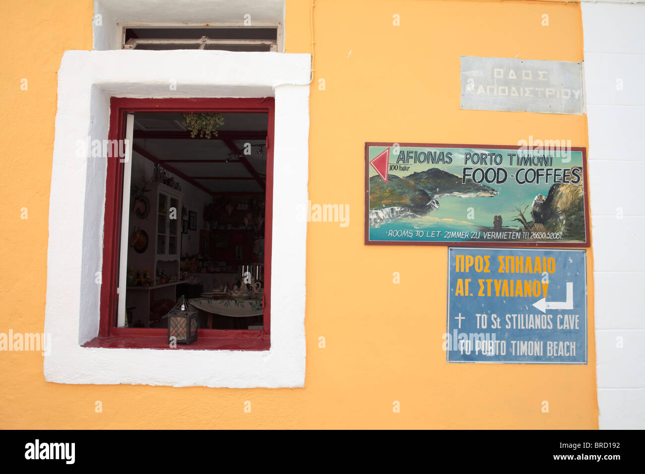 Signs Afionas Corfu Greece - Stock Image
