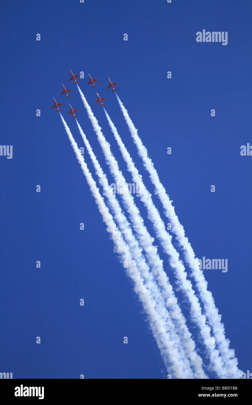 The Royal Air Force Aerobatic Team, The Red Arrows, displaying at Eastbourne, East Sussex, England. - Stock Image