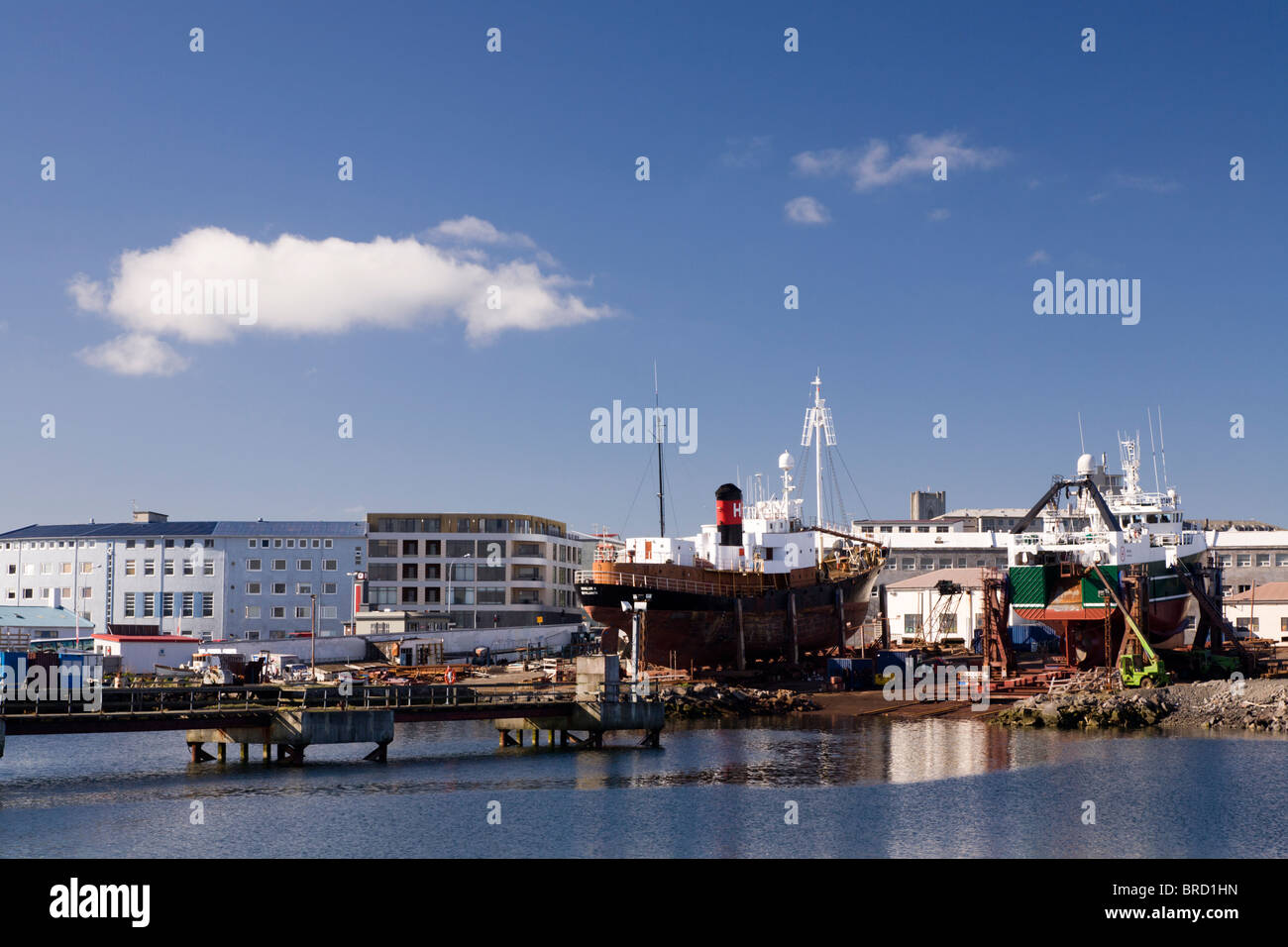 Ships being repaired at the shipyard. Reykjavik Iceland. - Stock Image