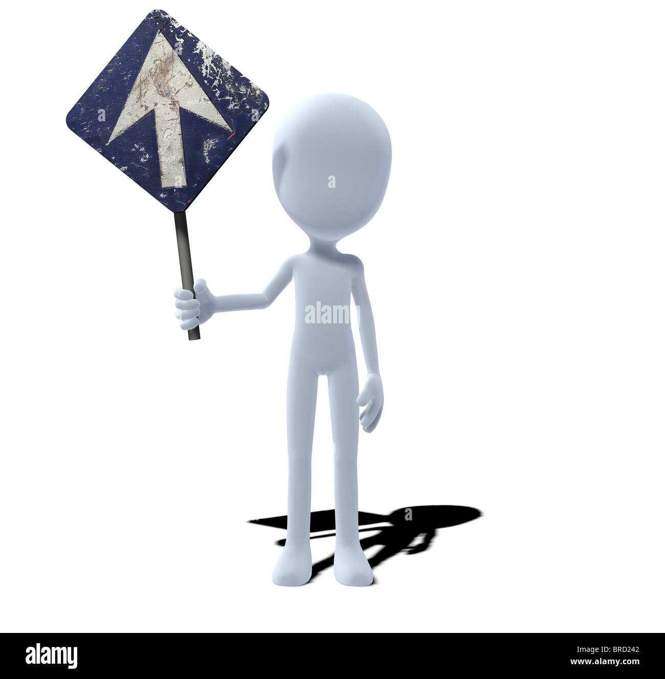 concept figure with sign prescribed direction Stock Photo