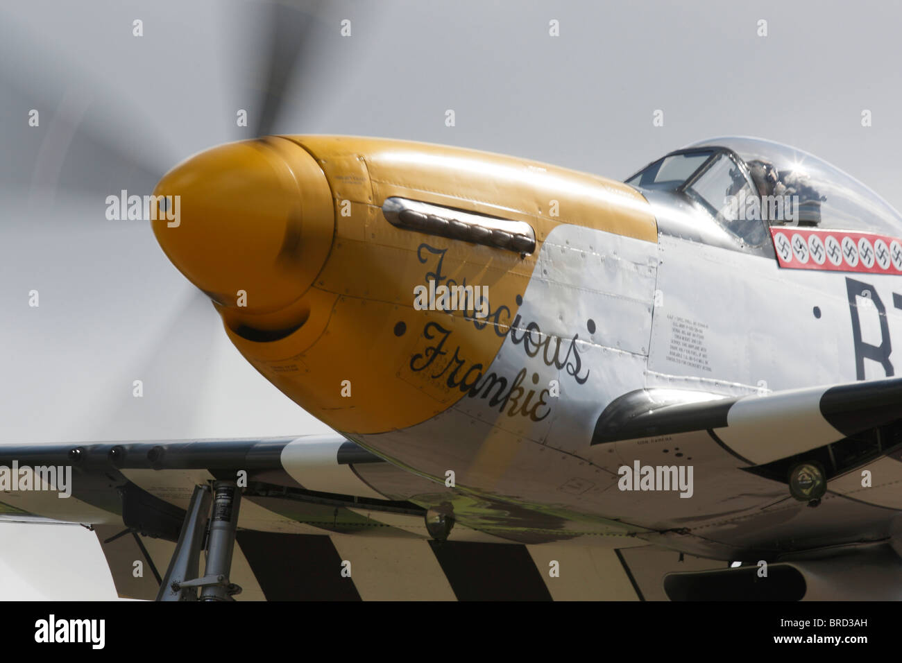 P51D Mustang Ferocious Frankie flying at Goodwood Stock Photo