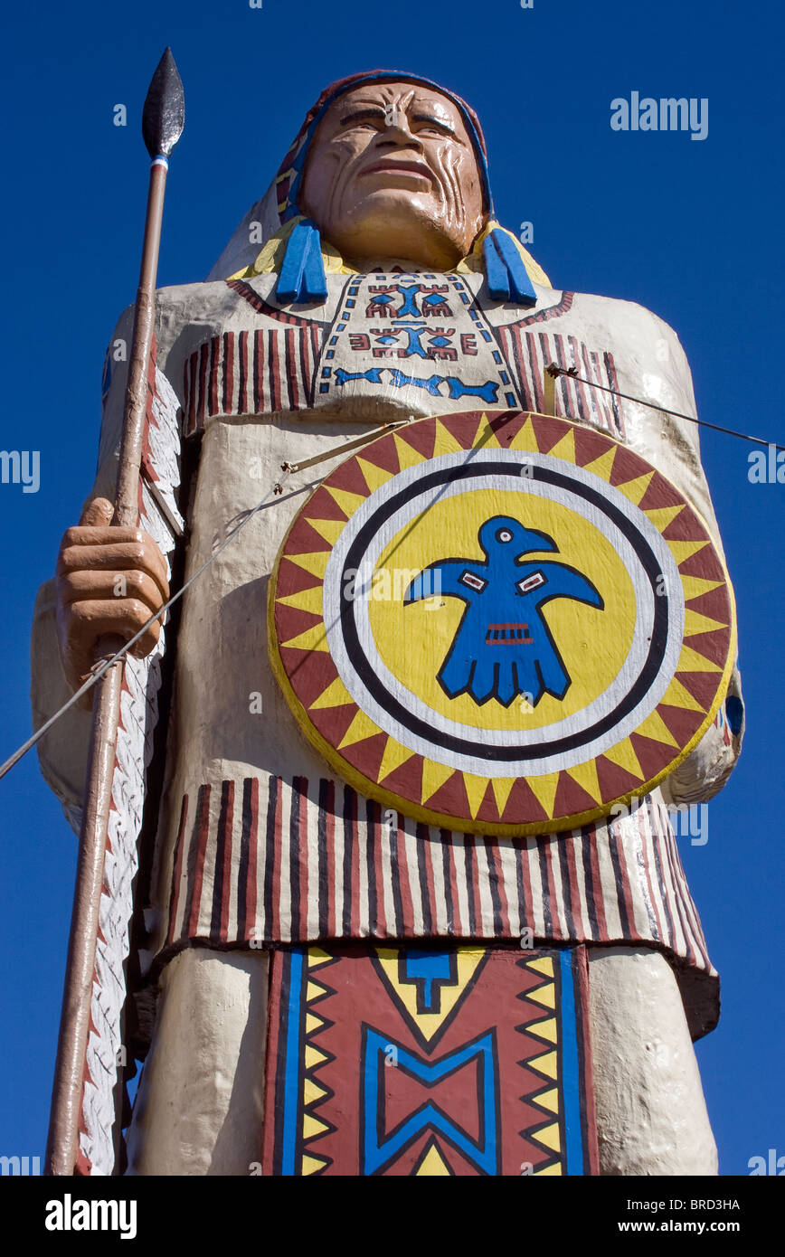 Giant Native American Indian in Freeport Maine - Stock Image
