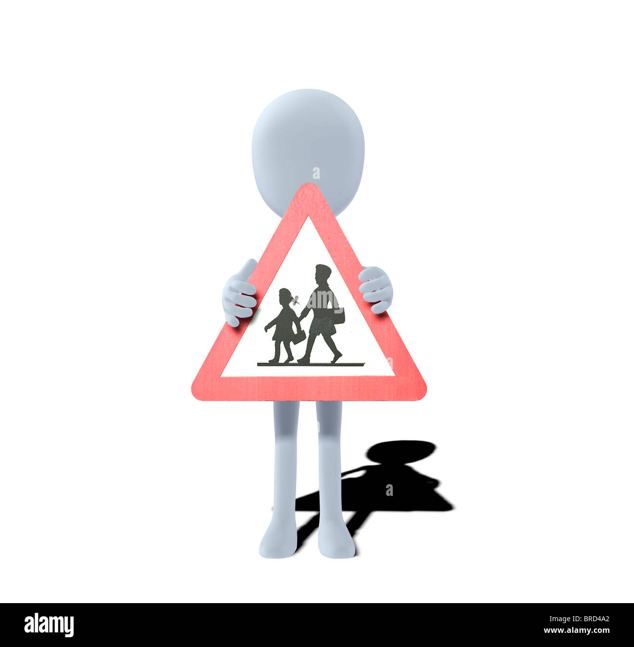 concept figure with warning sign children - Stock Image