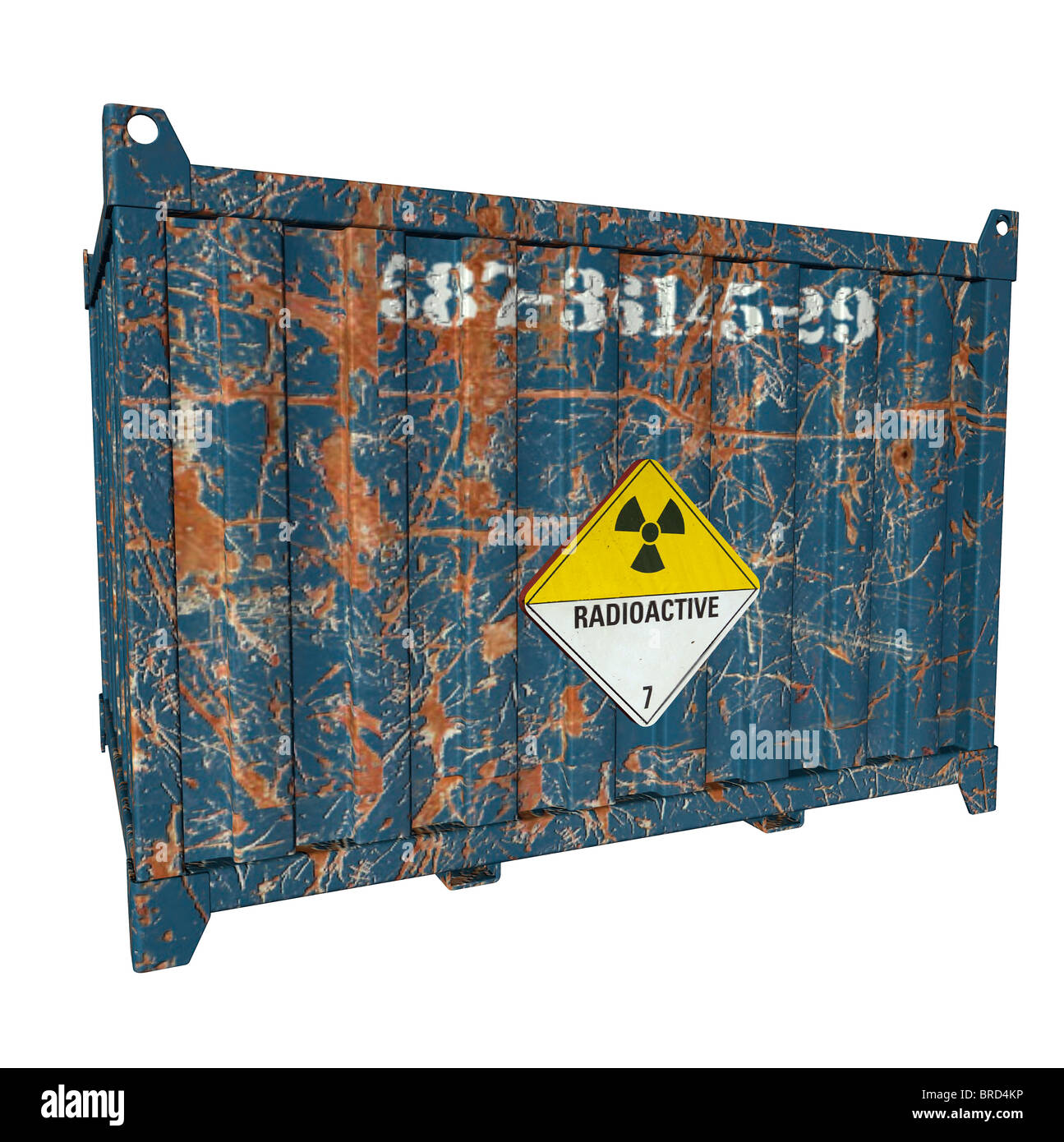 container with radioactive warning sign Stock Photo