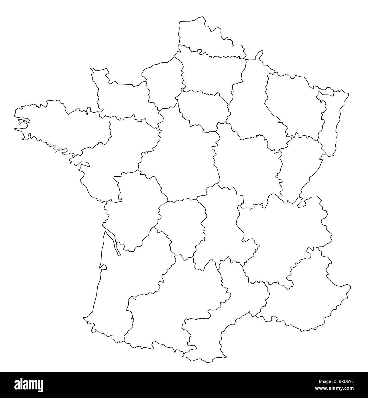Map Of Provinces In France.An Outlined Map Of France Showing The Different Provinces All Stock
