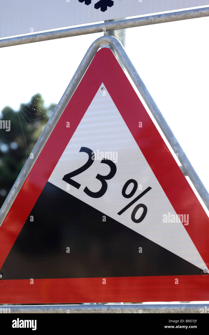 23 percent grade road sign Charles Lupica - Stock Image