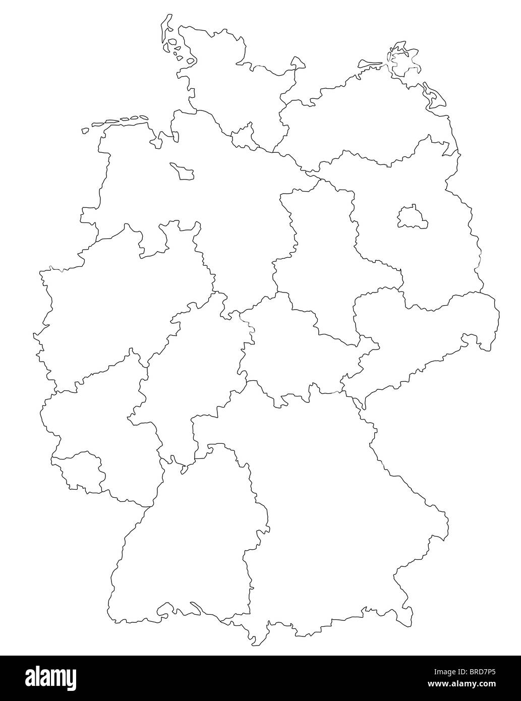 A Stylized Map Of Germany Showing All Single States All Isolated