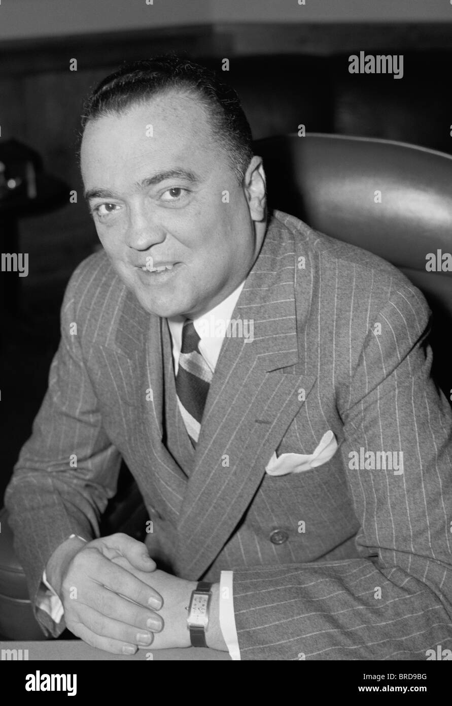 Portrait photo of J (John) Edgar Hoover (1895 - 1972) - the first Director of the Federal Bureau of Investigation - Stock Image