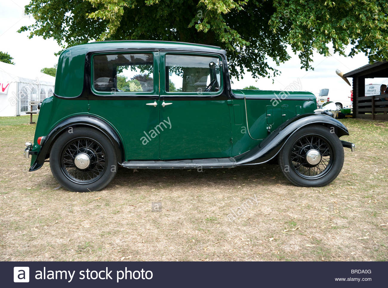 A British 1930s Austin 10 classic car shown in side view; UK - Stock Image