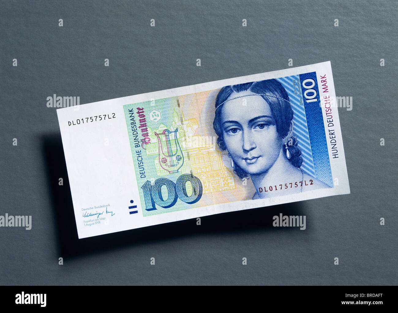 Former 100 German Marks note Stock Photo